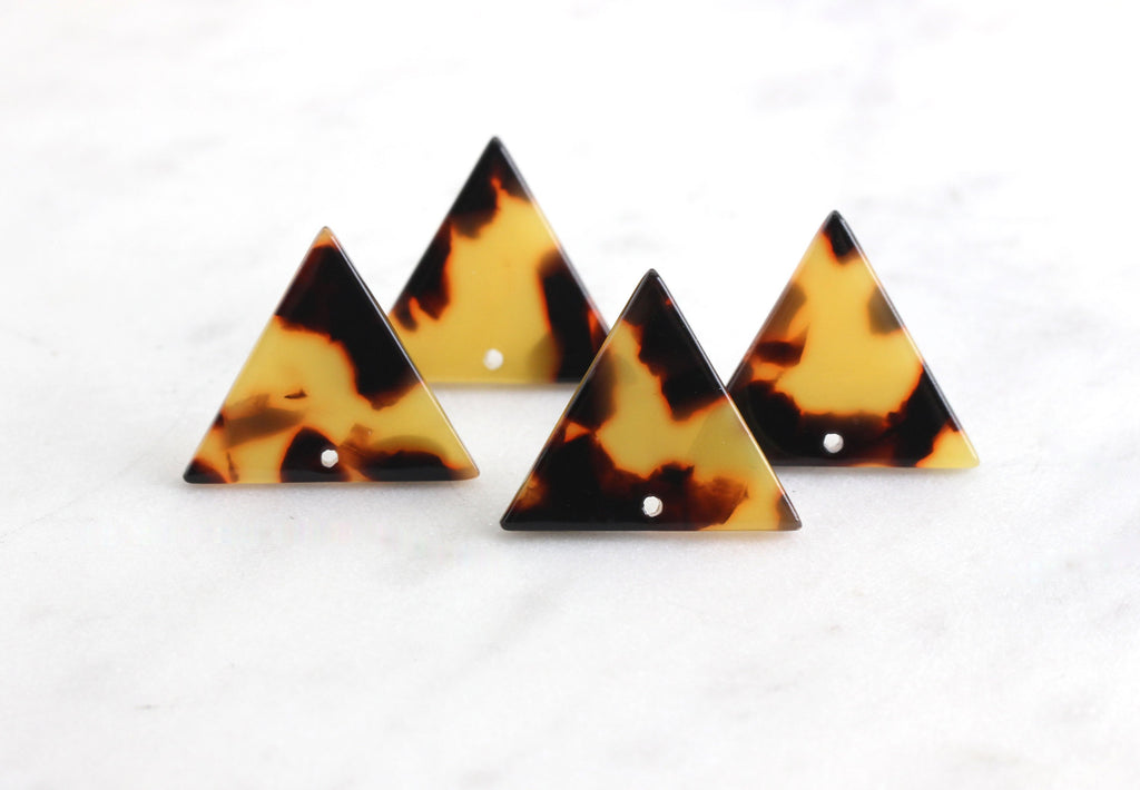 4 Upside Down Triangle Charms, Tortoiseshell, Cellulose Acetate, 23 x 20mm