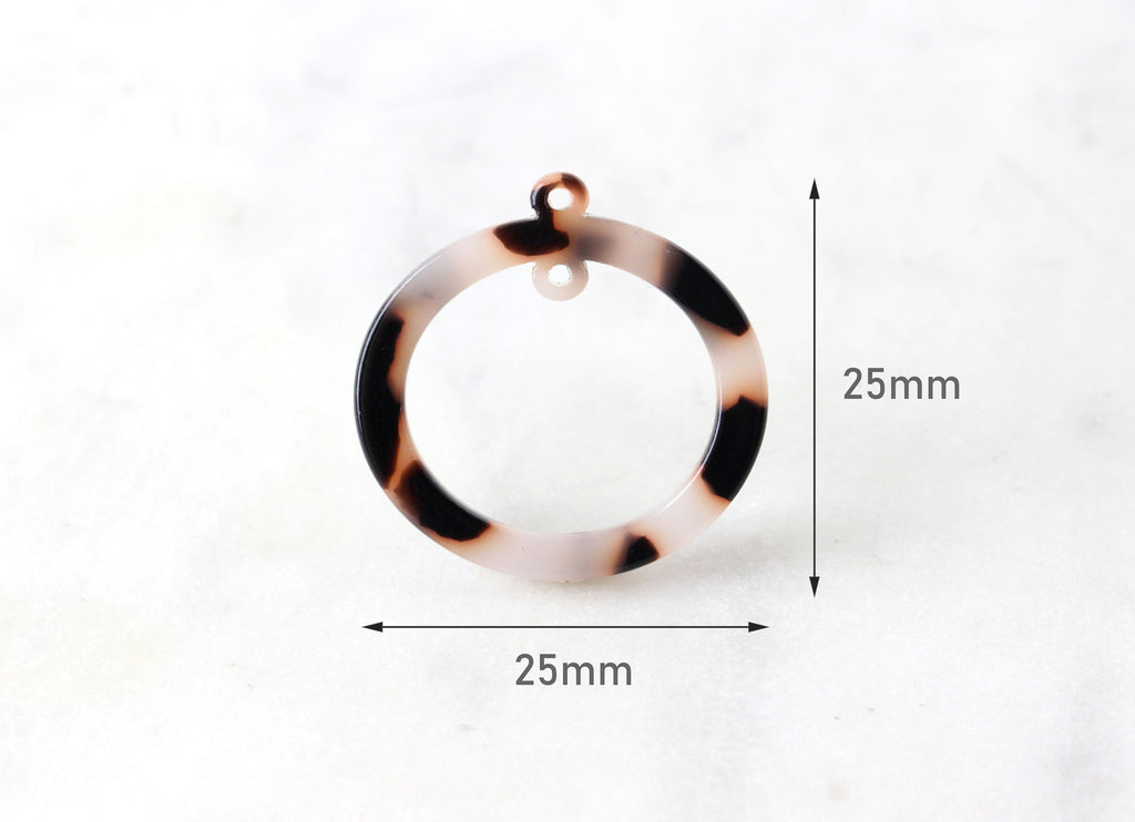 4 Two Hole Connectors, White Tortoise Shell Link Resin, Round Bead Frame Circle Ring with 2 Hole, Oval Hoop Bead, 25mm Ring Link RG022-25-WT