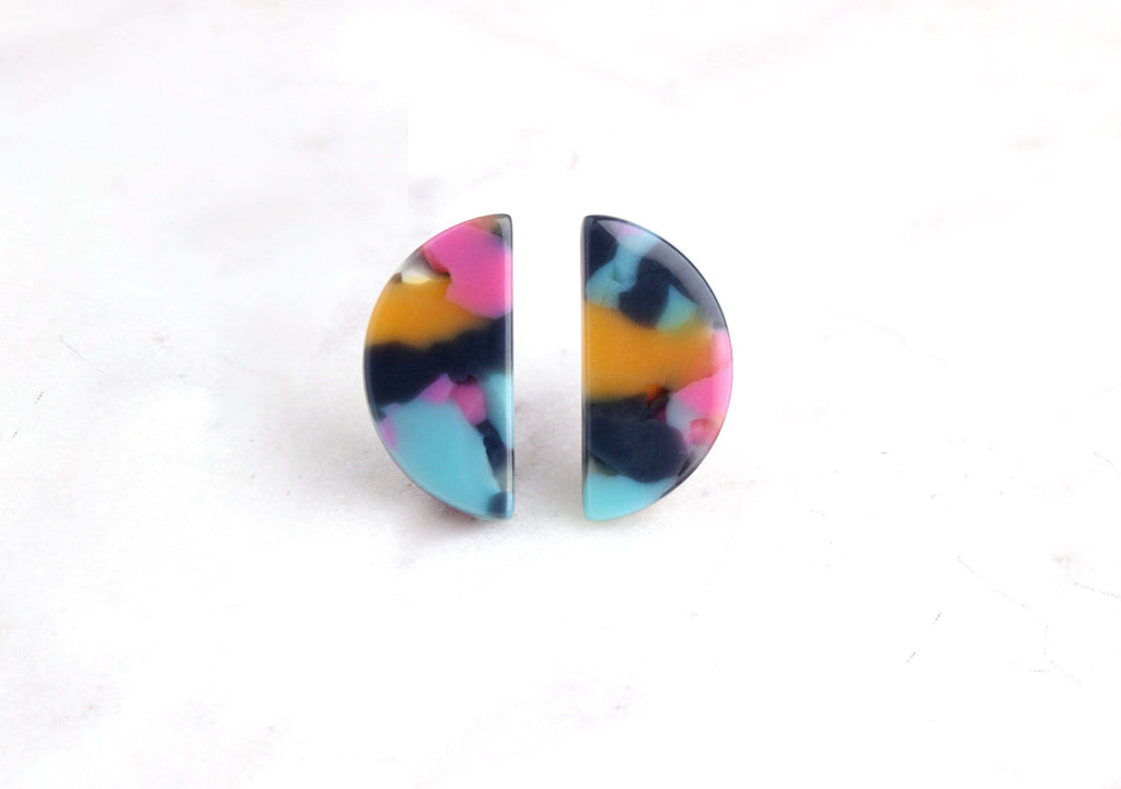 4 Small Half-Moon Charms, Blue Pink Yellow, Rainbow Studs Earrings Tortoise Shell Jewelry Acetate Acrylic Shapes Tropical Bead LAK023-20-UPY