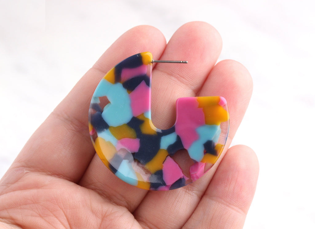 Acetate Earring Findings, 1 Pair, Blue Pink Yellow Clear, Acrylic Earring Blanks, Large Tortoise Hoops, Chunky Hoop Earrings, EAR025-43-UPY