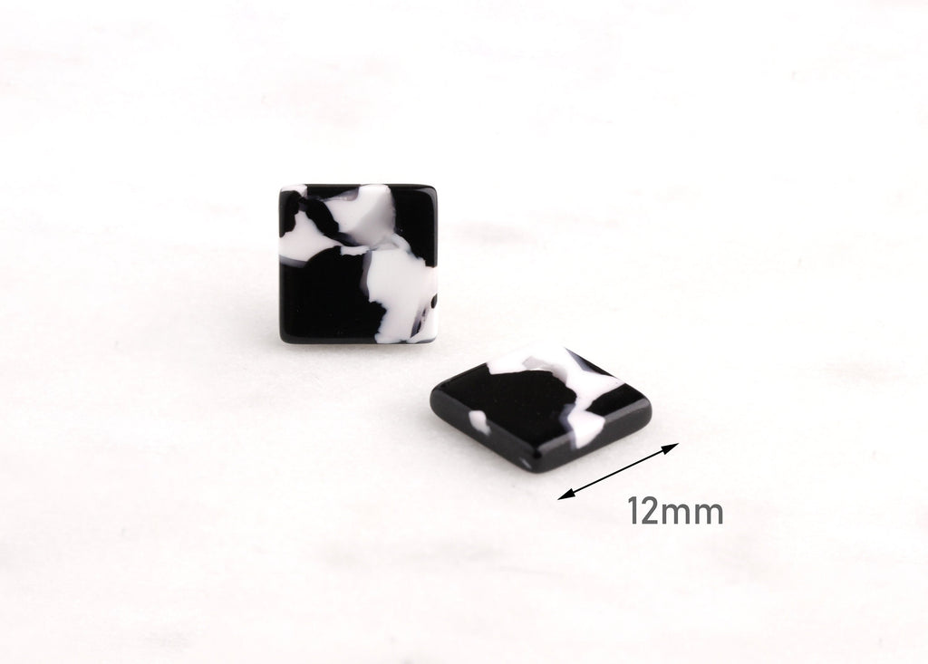 4 Black and White Marble Earring Blanks, Tiny Square Studs, Plastic Stud Earrings, Thick Square Blanks, Tortoise Shell Supply, LAK025-12-BW