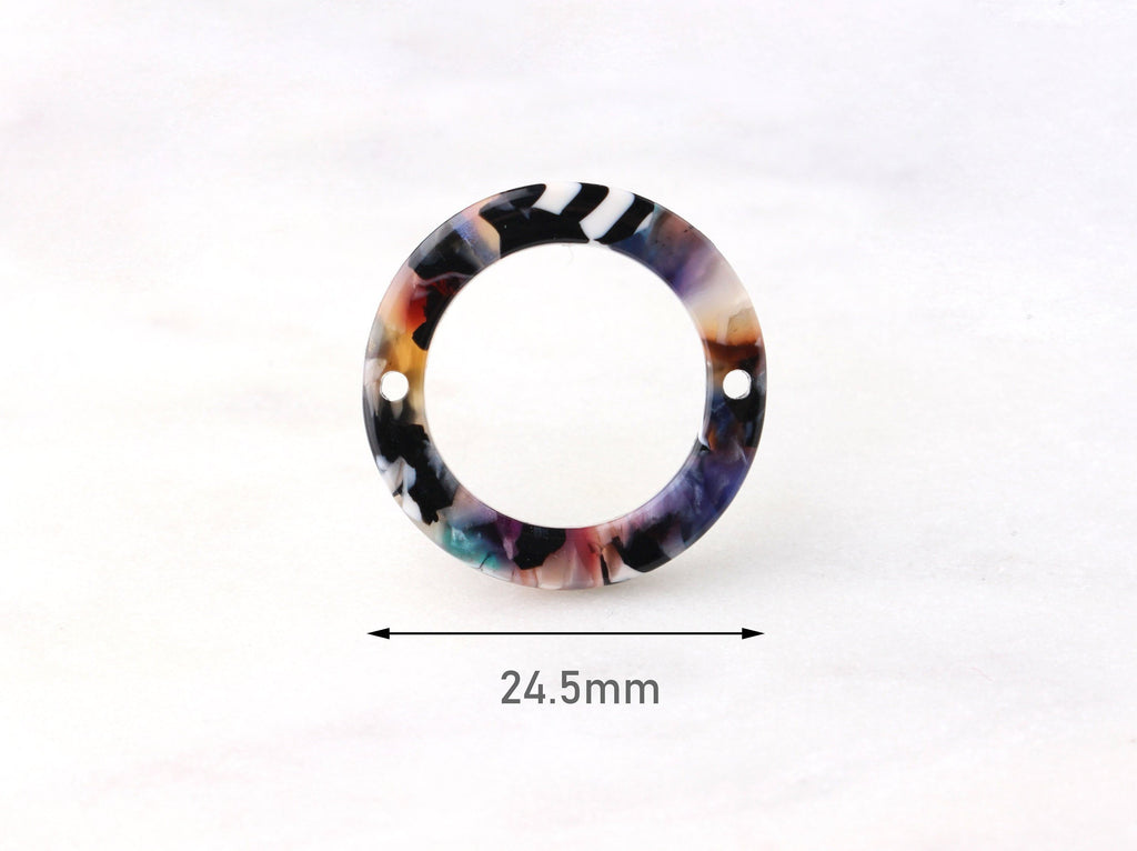 4 Two-Hole Connector Rings, Multi Color Tortoise Shell Hoop Pendant, Circle Links Tortoise Earrings Acetate, Color Block Beads, RG043-25-DMC