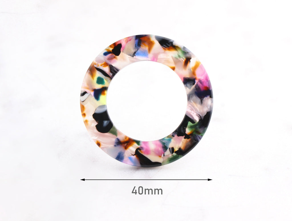 2 Large Connector Rings, Colorful Resin Shapes, O-Ring, Large Circle Links, Clear Acetate Charms, Tortoise Shell Supply, RG046-40-KMC