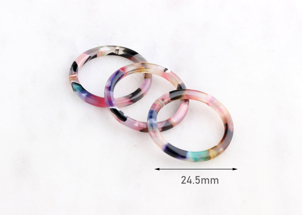 4 Transparent Pink Acrylic Circle Connector Ring, Pink Pastel Color Beads Acetate Findings, One Inch Ring, DIY Tortoise Supply RG048-24-PPST