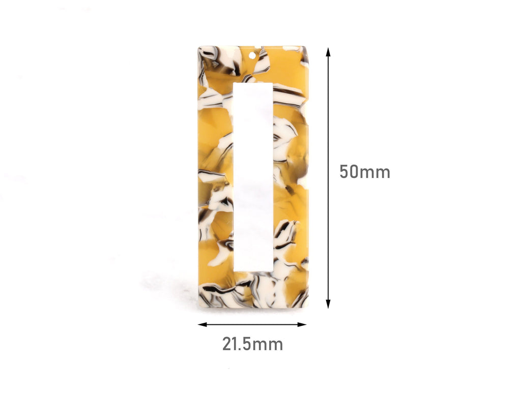 2 Vertical Rectangle Bar Pendant, Beads Mustard Yellow Tortoise Shell Supply, Yellow White Marble Resin Tortoise Earrings, DX017-50-YWB
