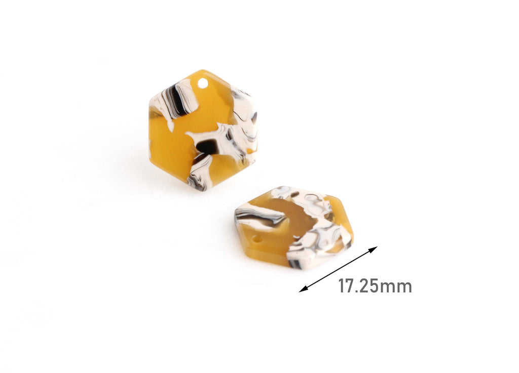 4 Small Hexagon Charms, Geometric Honeycomb Shape, Sunflower Yellow Tortoise Shell, Acetate, 17.25 x 15.5mm