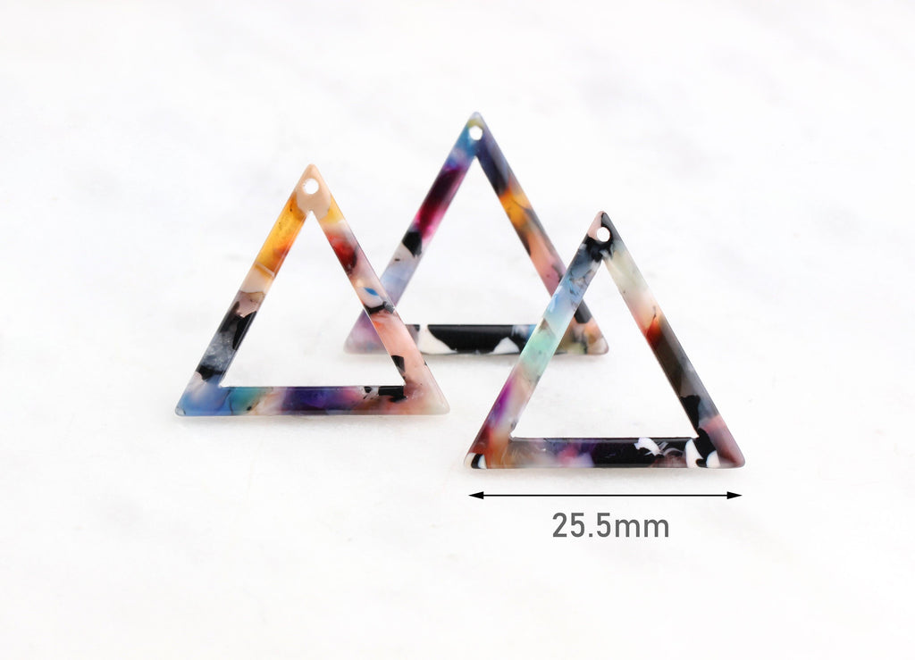 4 Colorful Triangle Connector Links, Open Triangle Outline, Triangle Marble Resin, Laser Cut Acrylic Shape, Thin Triangle Charm TR015-26-DMC