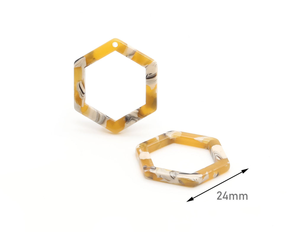 4 Open Hexagon Earring Supplies, Mustard Yellow White Tortoise Shell Jewelry Supply, Laser Cut Hexagon Links, Bracelet Charms, DX032-24-YWB