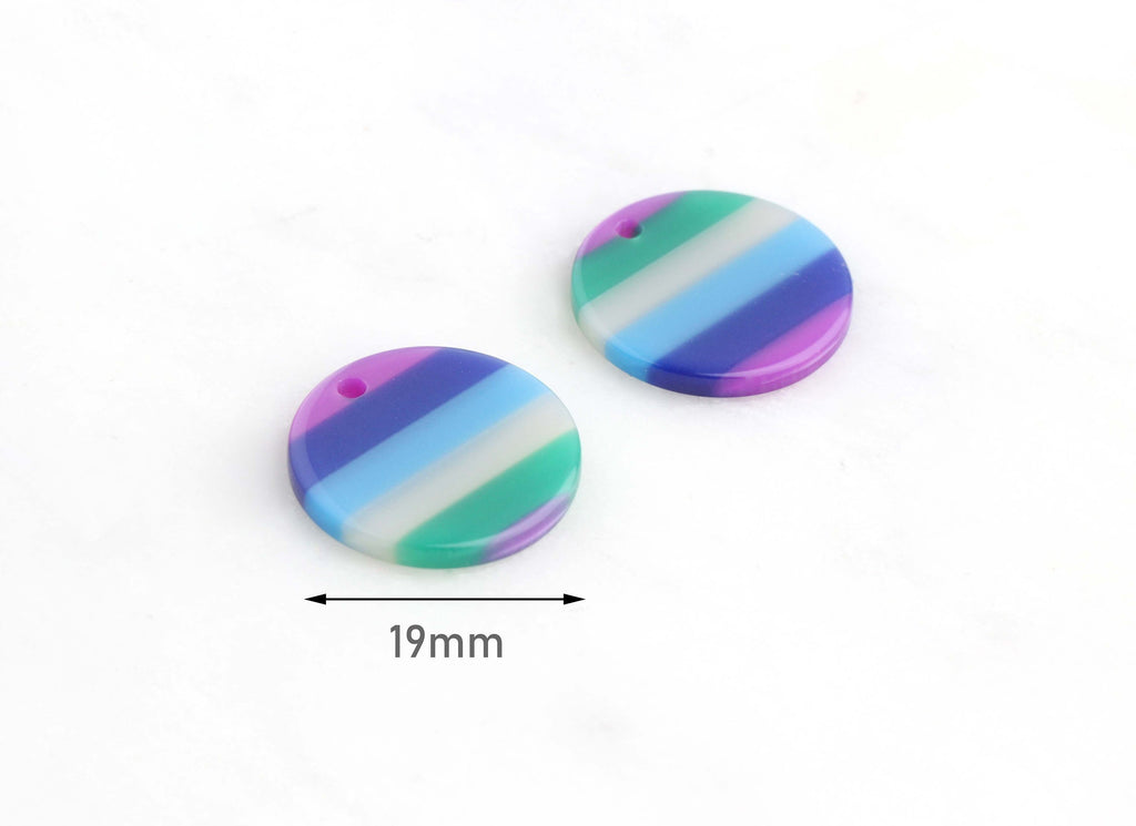 4 Small Acrylic Discs 19mm, Horizontal Stripes Multicolor Earrings Blue Green White Purple, Medium Circle, Monogram Disc Blank CN067-19-3STR