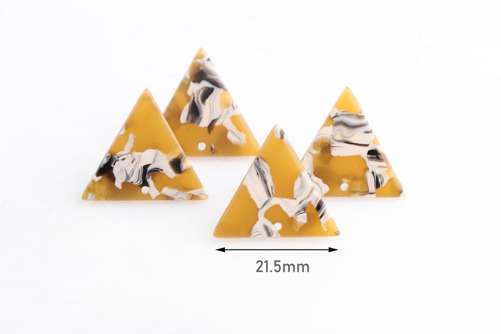 4 Upisde Down Triangle Charms, Sunflower Yellow Tortoise Shell and White, Acetate, 21.5 x 19mm