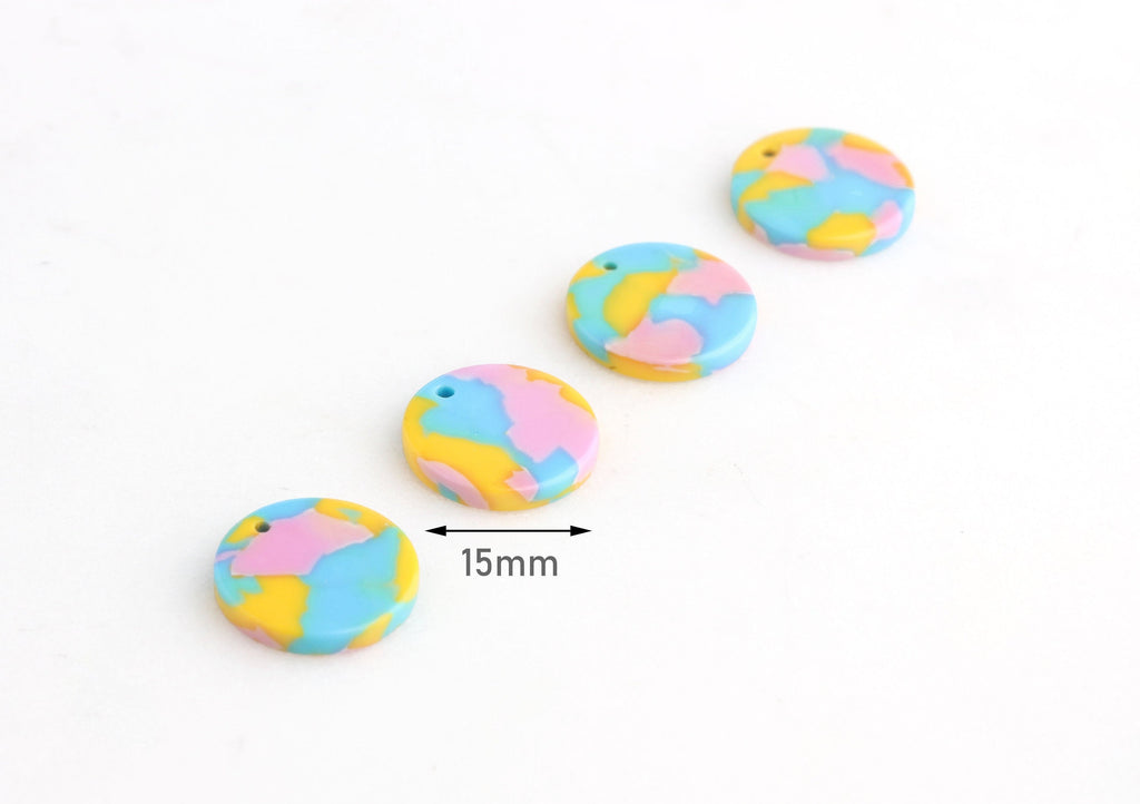 4 Small Coin Charms, Neon Beads, Bubblegum Pink, Baby Blue Charms, Acrylic Discs, Earring Blanks, Beads Pastel Goth Jewelry, CN107-15-UPY2