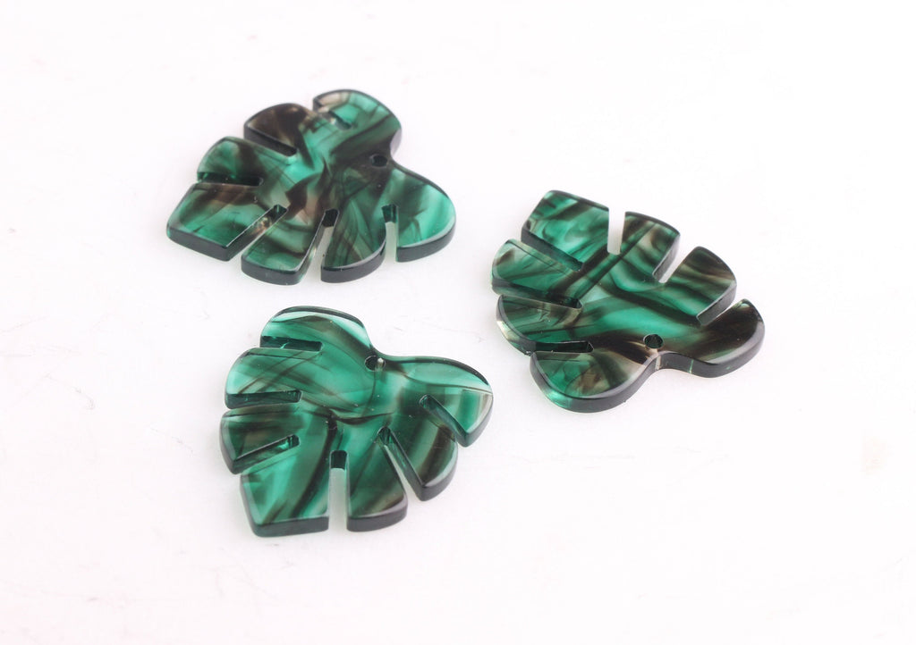 2 Transparent Green Resin Leaf Charms, Black Swirls, Fern Leaf Charms, Smokey Green Leaf Earring Findings, Palm Leaf Jewelry, FW033-30-GN03