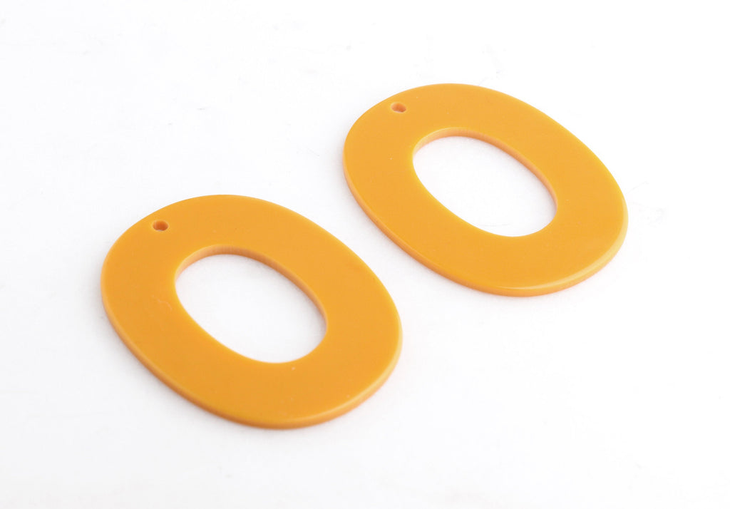 2 Large Oval Rings, Butterscotch Orange, Great for Earring Charms, Acrylic, 49.5 x 39mm
