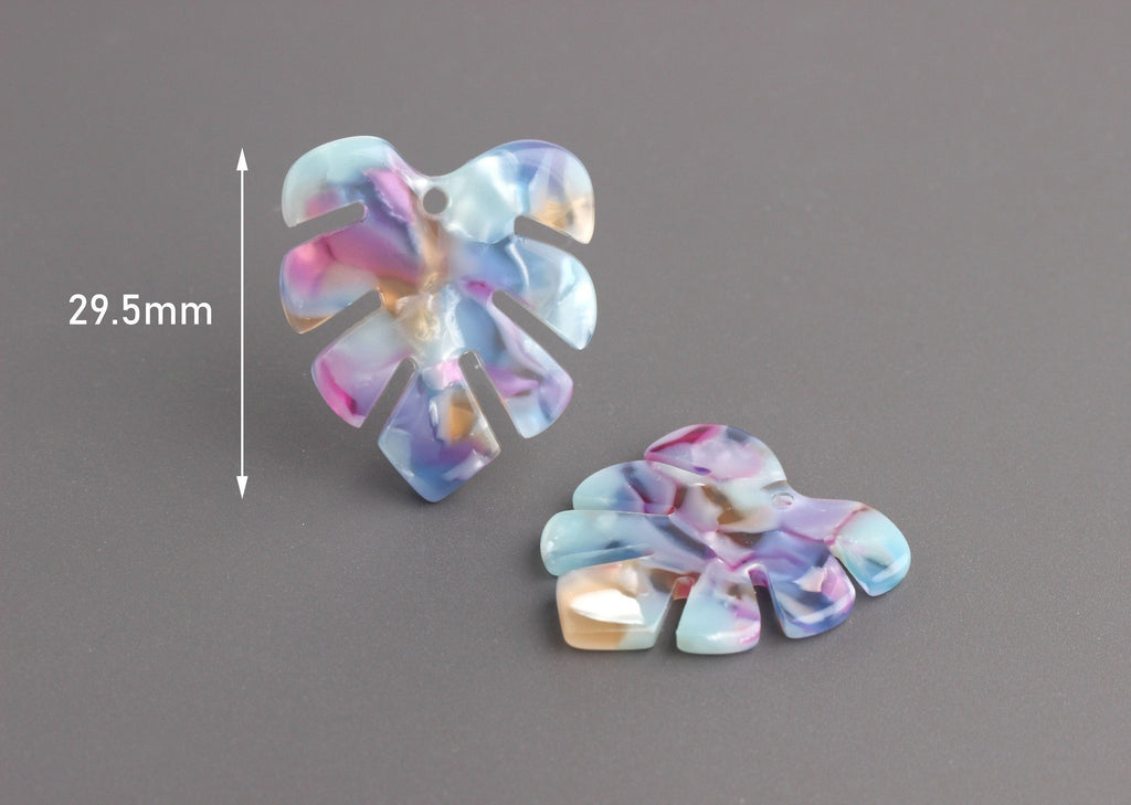 2 Small Monstera Leaf Dangles, Blue Watercolor Tortoise Shell with Pink and Yellow, Cellulose Acetate, 29 x 25.5mm
