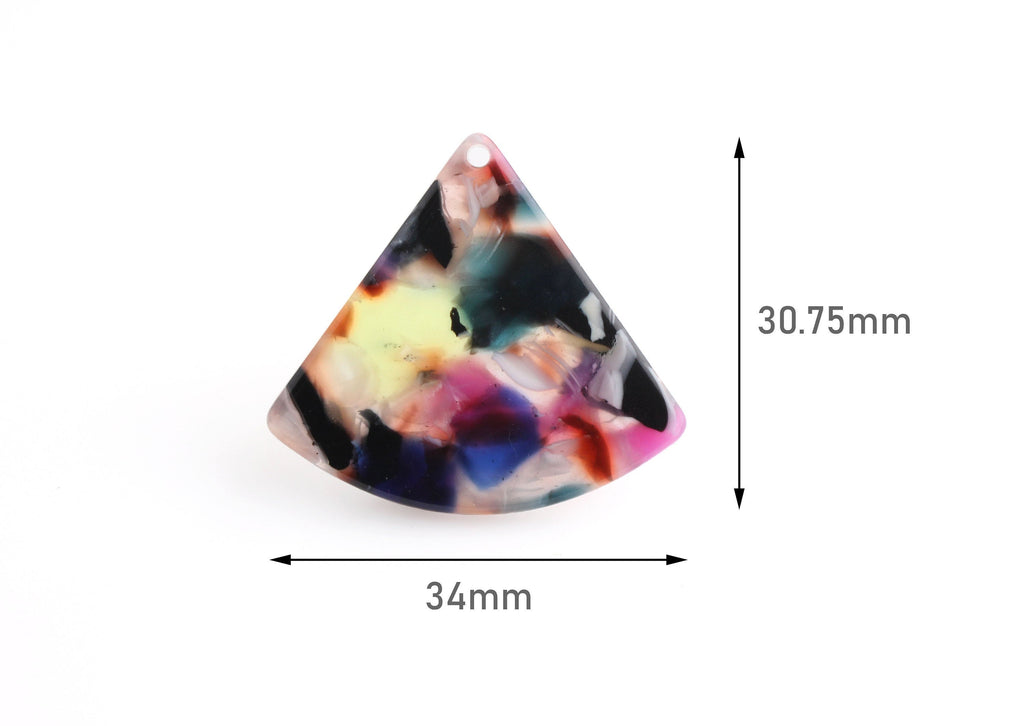 2 Wedge Beads, Multicolor Tortoise Shell Acrylic Earring Findings, Pie Shape, Cellulose Acetate Charms, Rainbow Drop Charms, CN168-34-KMC
