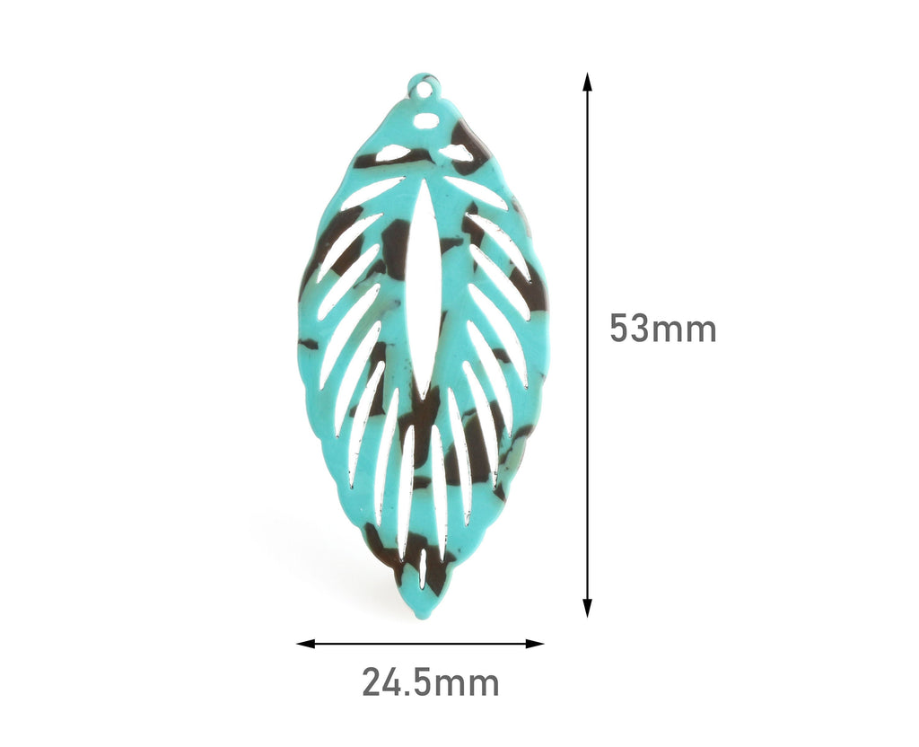 2 Large Peacock Feather Pendants, Turquoise Green and Brown, Cellulose Acetate, 53 x 24.5mm