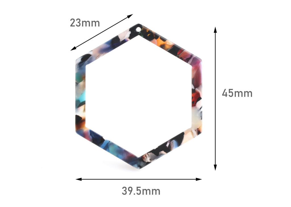 2 Acrylic Laser Cut Hexagon Pendant, Multicolor Tortoise Shell, Plastic Colorful Rings, Cellulose Acetate Charm, Linking Rings, DX071-45-DMC