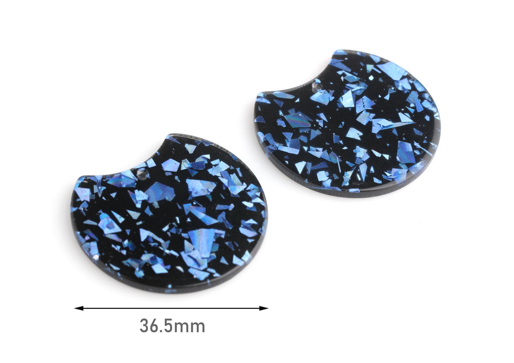 2 Black Acrylic Half Circle with Metallic Blue Foil, Glitter Acrylic Shapes, Resin Blue Flakes, Black Tortoise Shell Pendant, CN171-37-BKUF