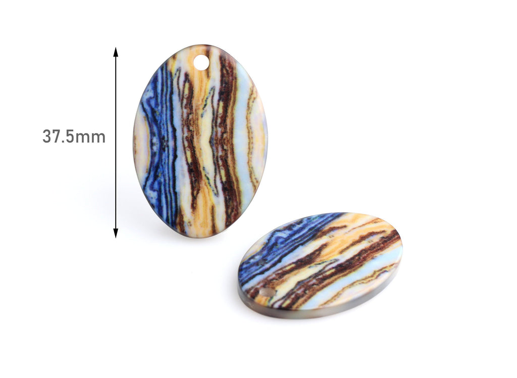 4 Thick Oval Discs with Brown Blue Stripes, Printed Acrylic Earring Blanks, Large Hole Charms, Keychain Blank, Organic Colors, VG039-37-MC06
