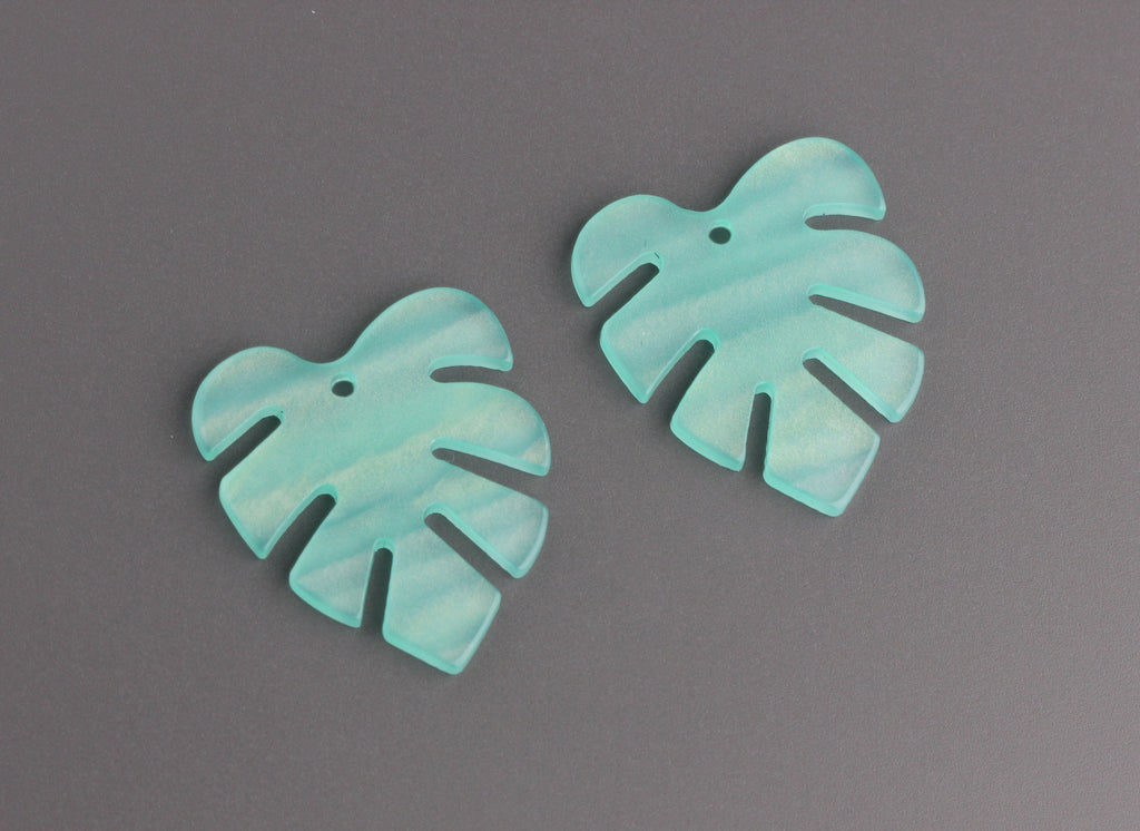 2 Pastel Green Resin Leaf Pendants, Mint Green Monstera Earrings DIY, Acrylic Jewelry Findings, Lucite Leaves, Palm Leaf Bead, FW042-28-GN06