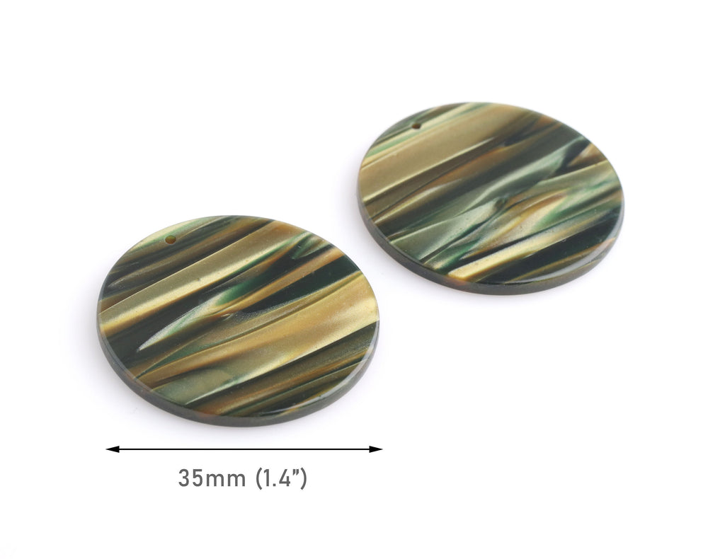 "4 Sage Green Acrylic Circles with Drilled Hole, 1.4"" Inch Earring Blank, Flat Resin Pendant, Dark Green Tortoise Shell Supply, CN255-35-GN07"