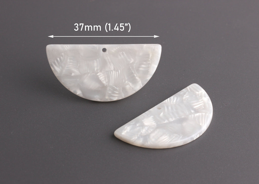 2 White Pearl Semi Circle Pendants, Cellulose Acetate, 37 x 18mm