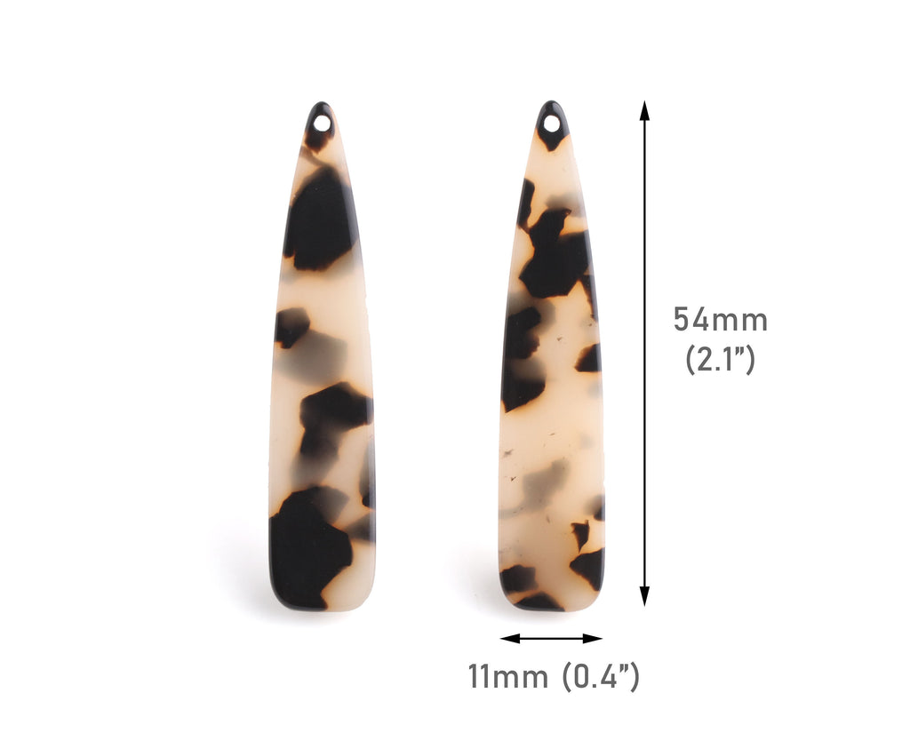4 Long Teardrop Charms, 54x11mm, Acrylic Tortoise Shell Bead, Bell Shape, Blonde Tortoiseshell Earring Component, Resin Pendant, TD060-54-BT