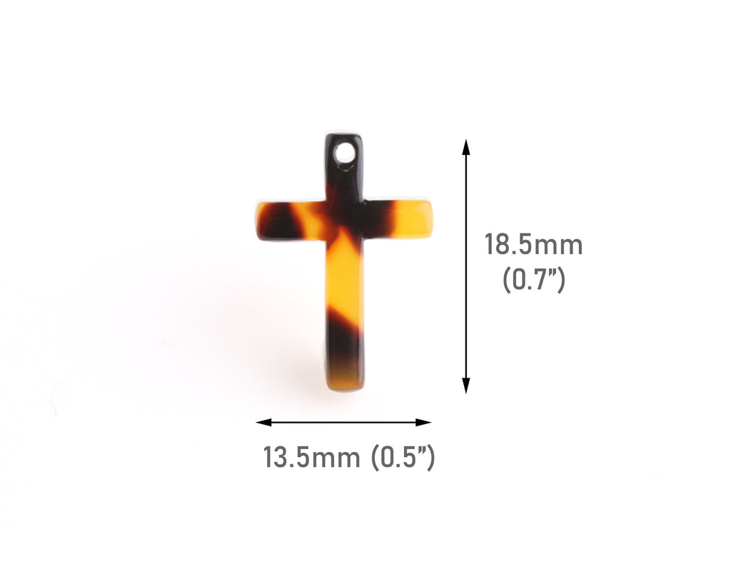 4 Tiny Cross Charms in Tortoise Shell, Faith Charms, Cellulose Acetate, 18.5 x 13mm