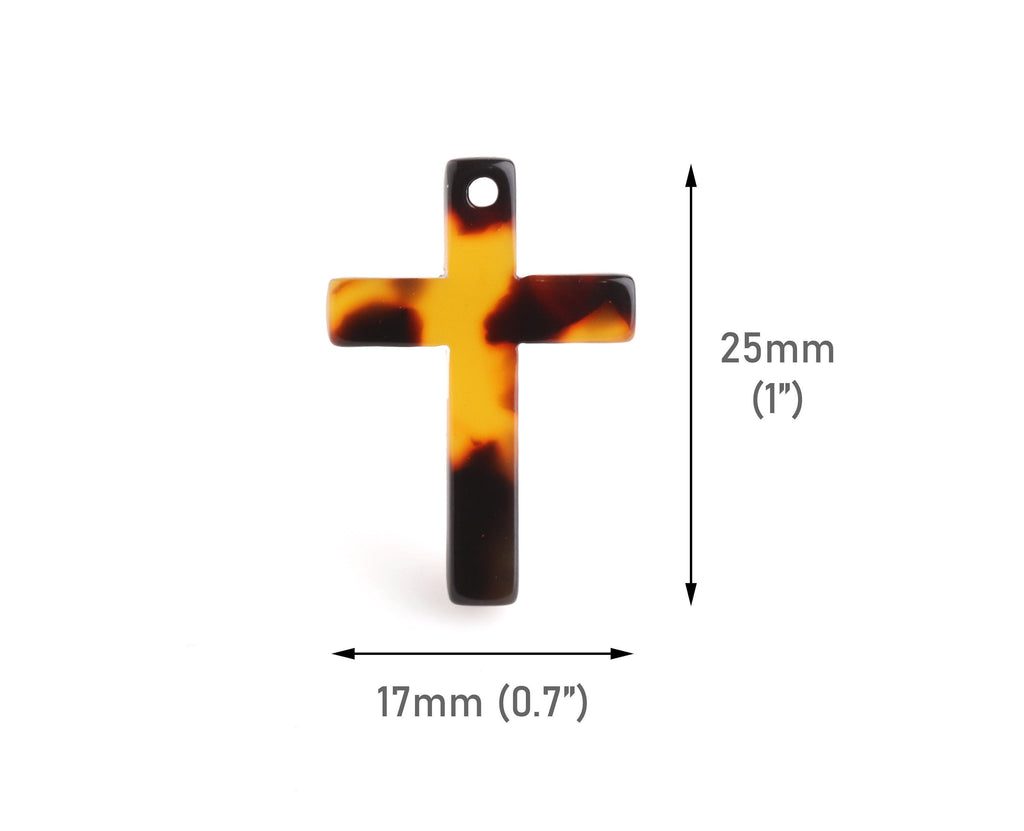 2 Cross Pendants for Women and Men, 25 x 17mm, 1 Inch Cross Charm Bulk, Acetate Tortoise Shell Supply, Christian Faith Charm, DX104-25-TT