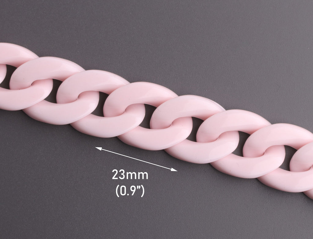 Blush Pink Plastic Chain Links 1ft, 23mm x 17mm, Chunky Acrylic Chain, Wholesale Curb Chain Necklace, Millennial Pink Colored, CH061-23-PK21