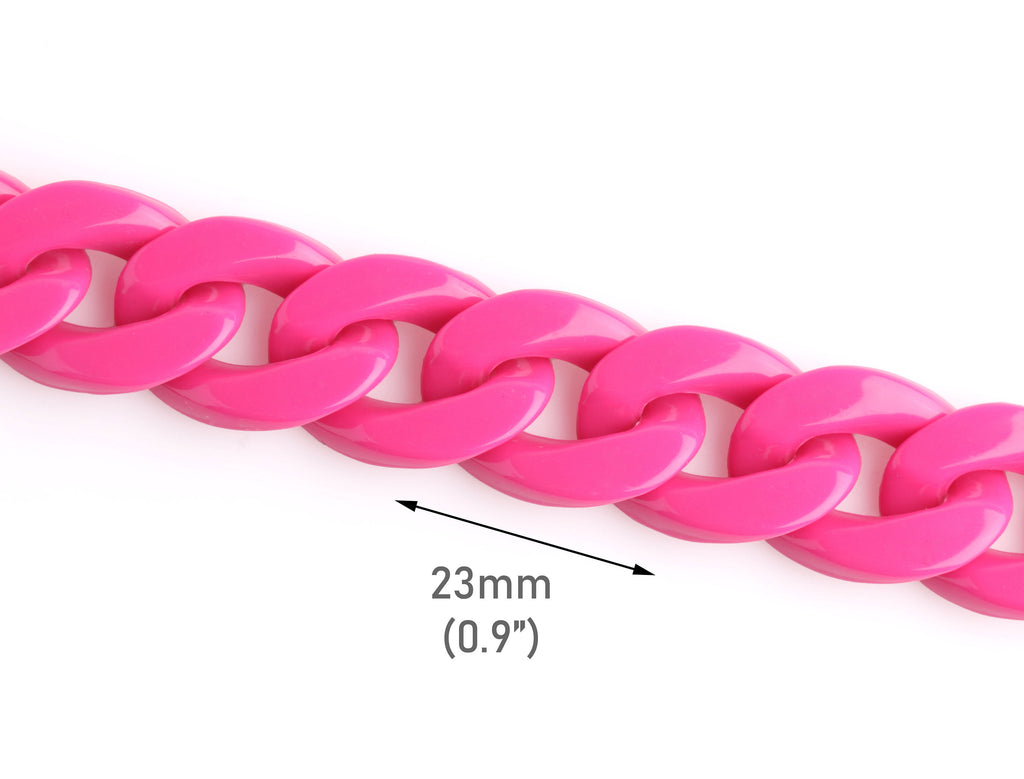 Hot Pink Acrylic Chain Links, 1ft, 23x17mm, Chunky Plastic Chain, Loose Individual Links, Bulky Large Chain, Oval Curb Chain, CH048-23-PK17