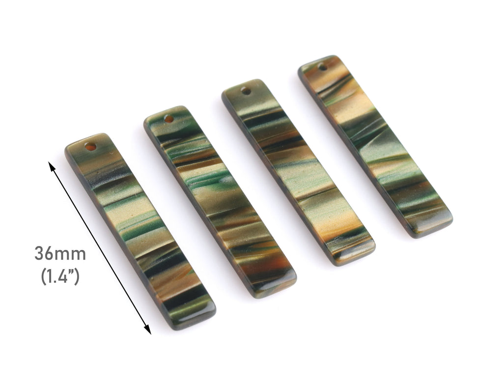 4 Bar Charms for Earrings, Sage Green Tortoise Shell, Stripes, Cellulose Acetate, 36 x 7.5mm