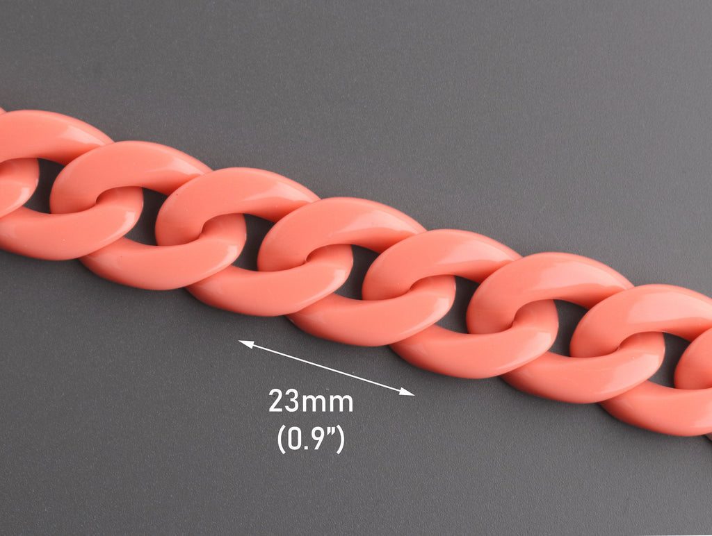 Peach Acrylic Chain Links 1ft, 23 x 17mm, Individual Loose Links, Light Coral Orange Color, Chunky Plastic Chain Necklace, CH054-23-PK19