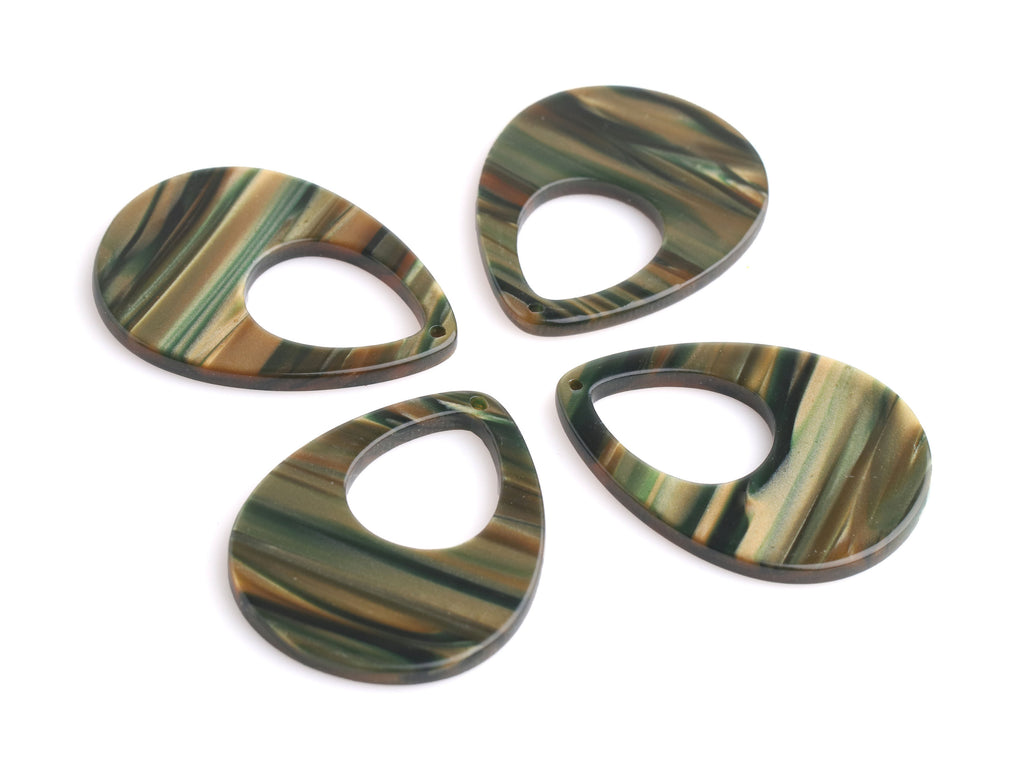 "4 Sage Green Teardrop Beads, Laser Cut Acrylic Earring Blanks, Acetate Charms, 1.5"" Inch, Tortoise Shell Supply Findings, TD061-37-GN07"