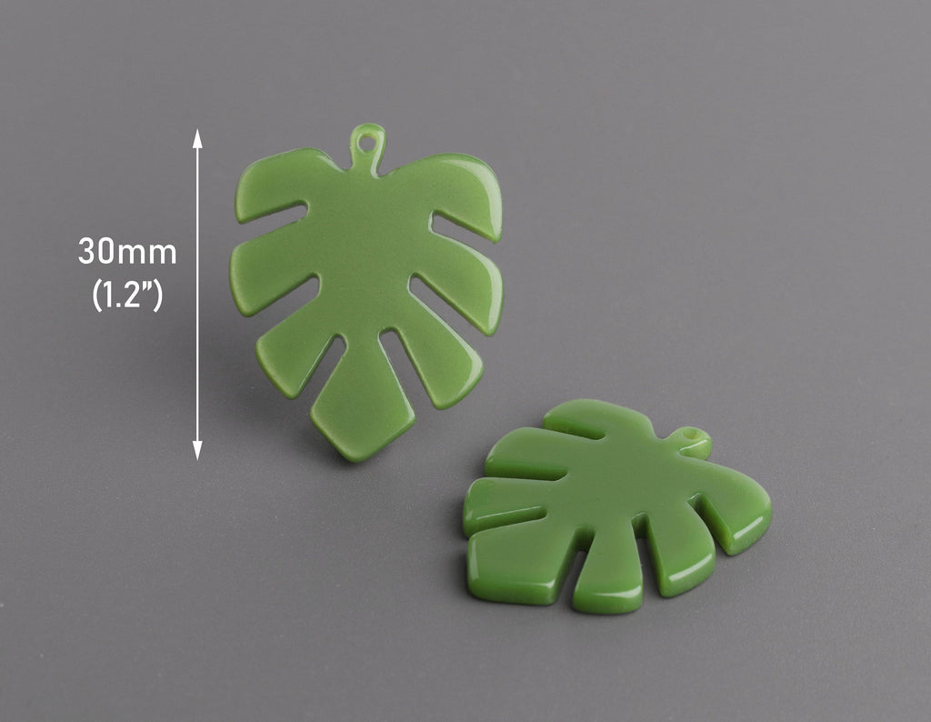 2 Palm Leaf Charms in Olive Green, Botanical Pendants, Cellulose Acetate, 30 x 24.25mm