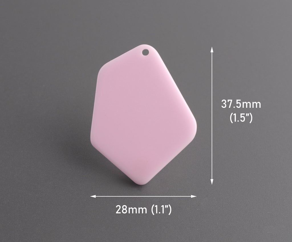 2 Geometric Pendants in Soft Pink, 37.5 x 28mm, Diamond Shaped Charm, Laser Cut Acrylic Blanks for Earrings, Jewelry Supply, DX108-37-PK11