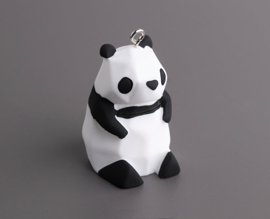 "Geometric Panda Bear Figurine with Loop, Low Poly, Small Plastic Spirit Animal Totem, Matte Rubber Coated, 1.7"" Inch"