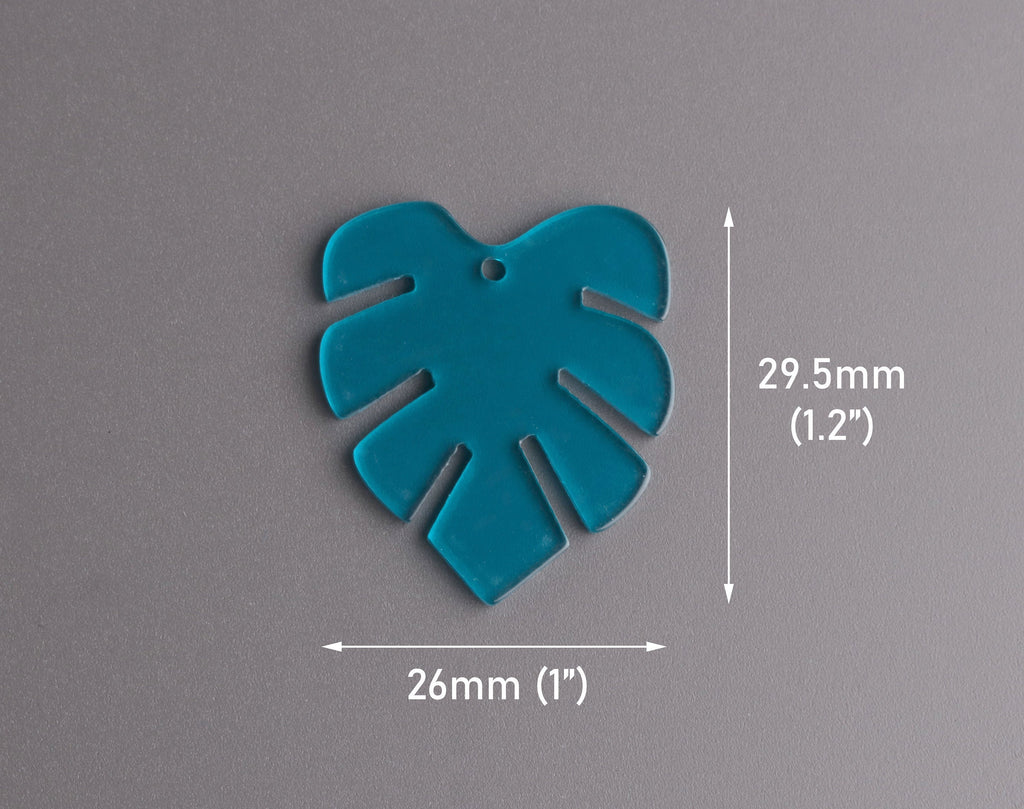 2 Blue Monstera Leaf Charms, Transparent Acrylic, 29.5 x 26mm