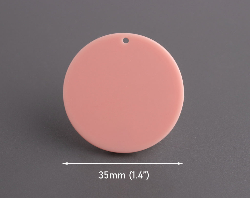 4 Peach Acrylic Circles 35mm, Plastic Disc Charm, Orange Coral Bead, Laser Cut Acrylic Shapes for Jewelry Making, Pastel Pink, CN277-35-PK05