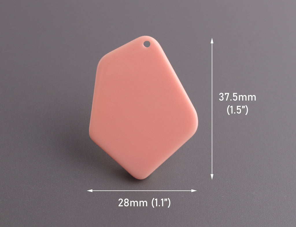 2 Geometric Pendants in Peach, Coral Pink Earring Blanks, Acrylic, 37.5 x 28mm