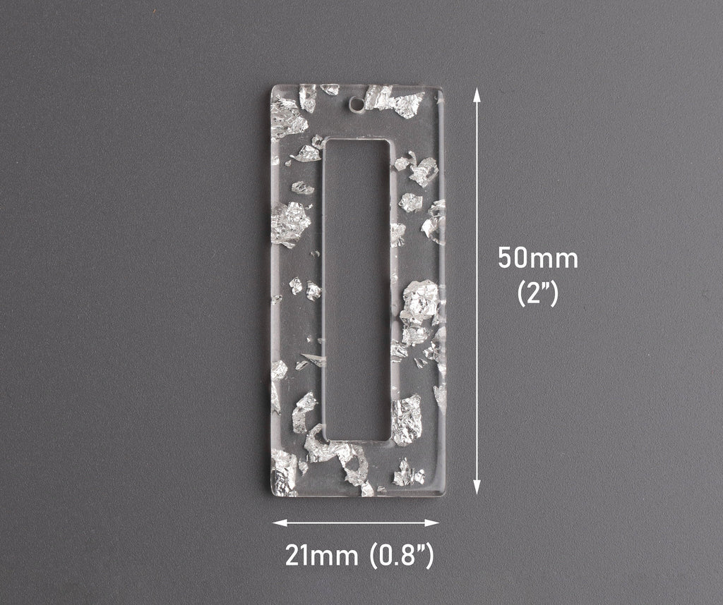 2 Clear Acrylic Rectangle Rings with Silver Flecks, Acrylic Earring Pieces, Large Rectangle Pendants, Silver Foil Flakes, DX122-50-CSF
