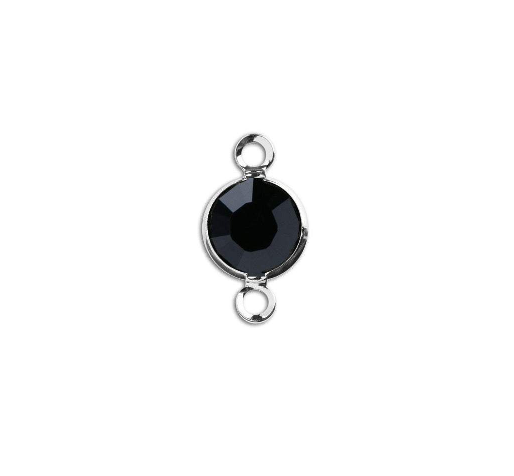 1 Silver Swarovski Crystal Link with Jet Black, 6mm, Rhodium Plated Channel Set, 57700