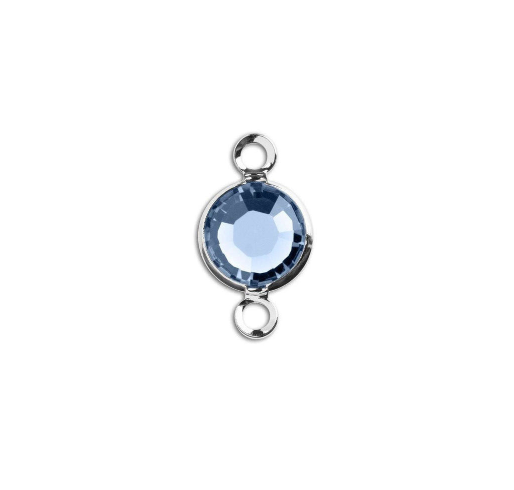 1 Silver Swarovski Crystal Link with Light Sapphire Blue, 6mm, Rhodium Plated Channel Set, 57700