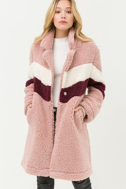 Teddy Bear Sherpa Jacket Mauve