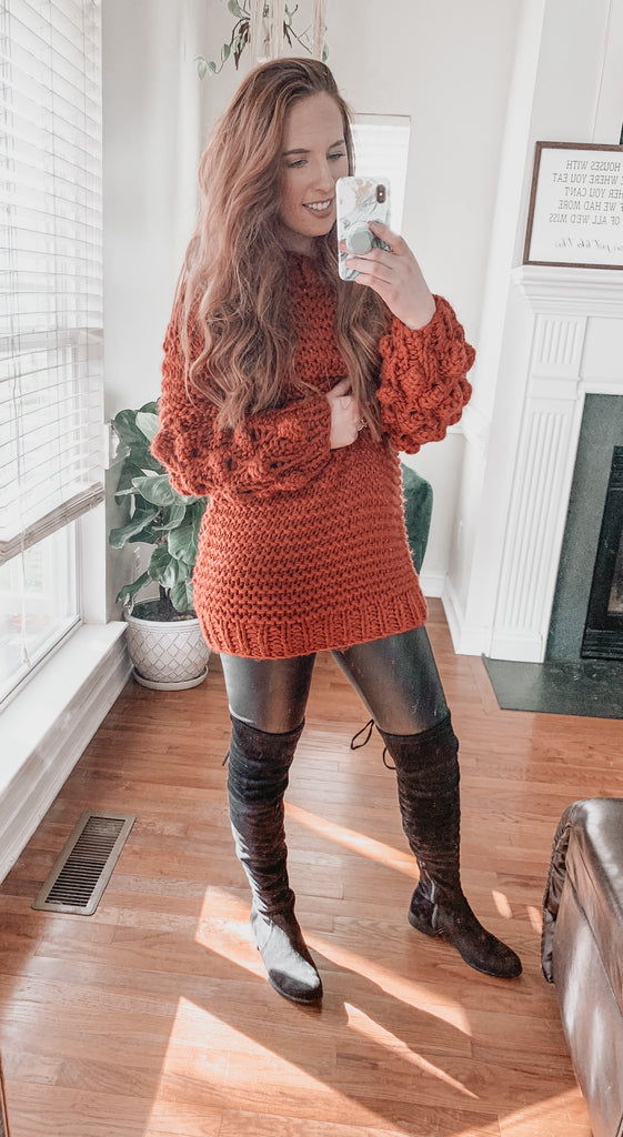 Bubble Sleeve Sweater- Rust