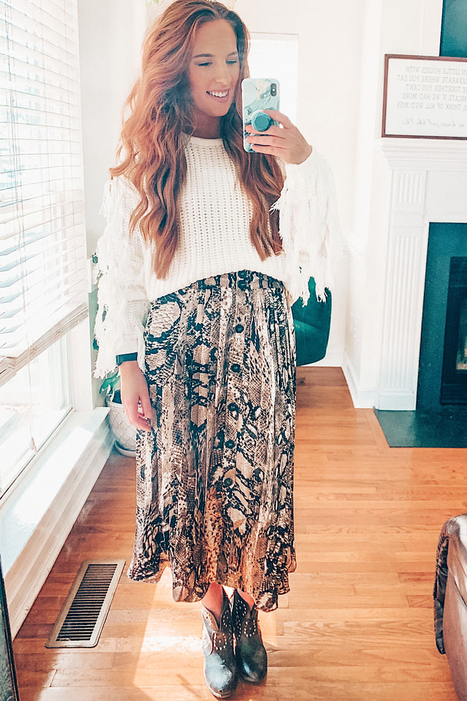 Pleated Snakeskin Button-Down Midi SKirt
