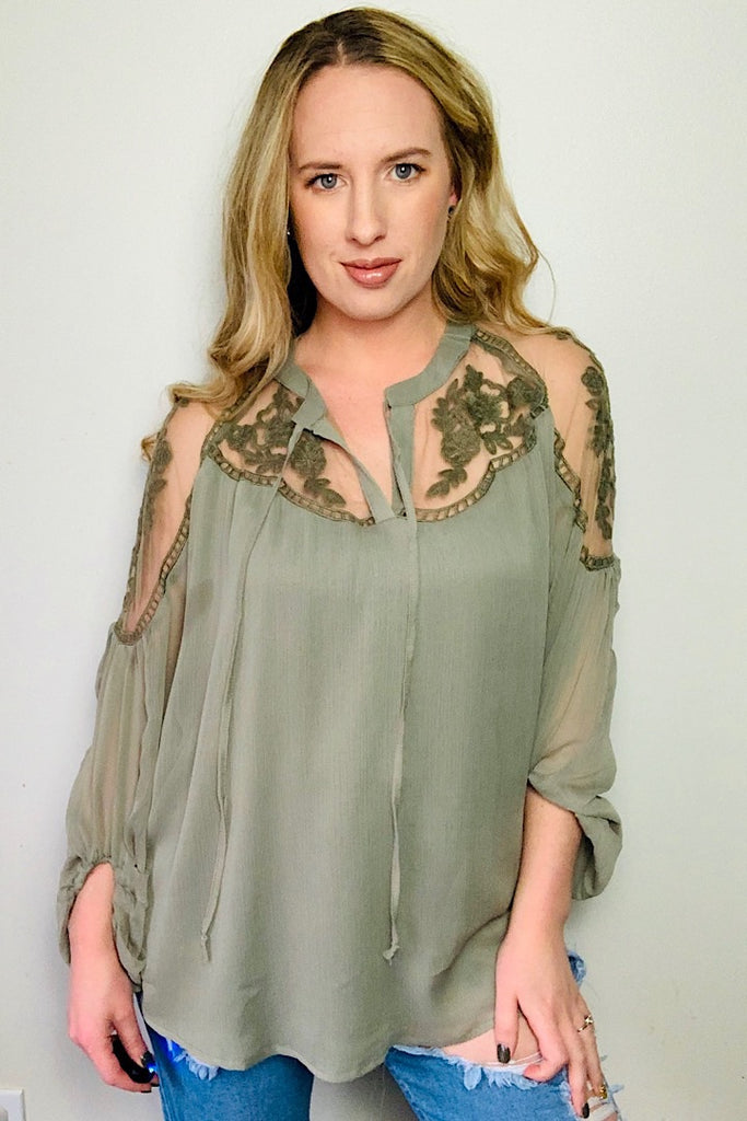 One Fine Day Lace Detail Top Olive