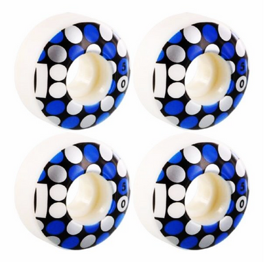 PLAN B, Dots White / Black / Blue Wheels 50mm 98a (set of 4)