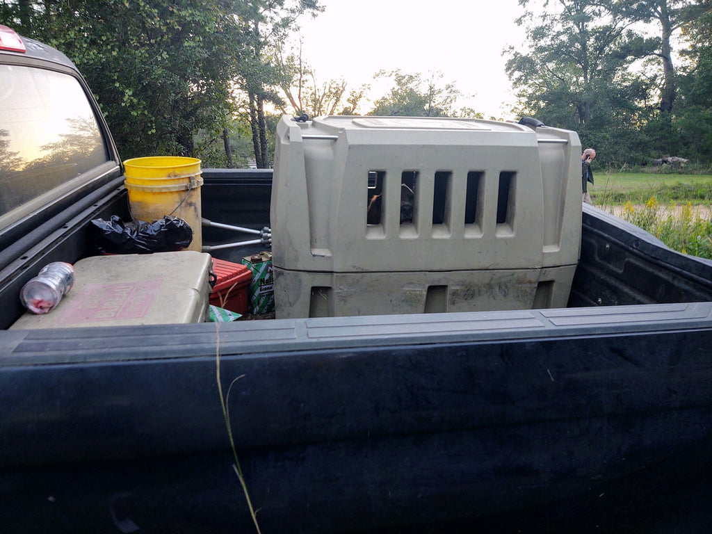 Gunner Large Kennel in Wreck Truck Bed