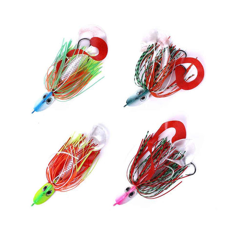 Lead-Head-Jig-Hooks-Spinnerbait-Soft-Grub-Lures-Random-Color-HENGJIA